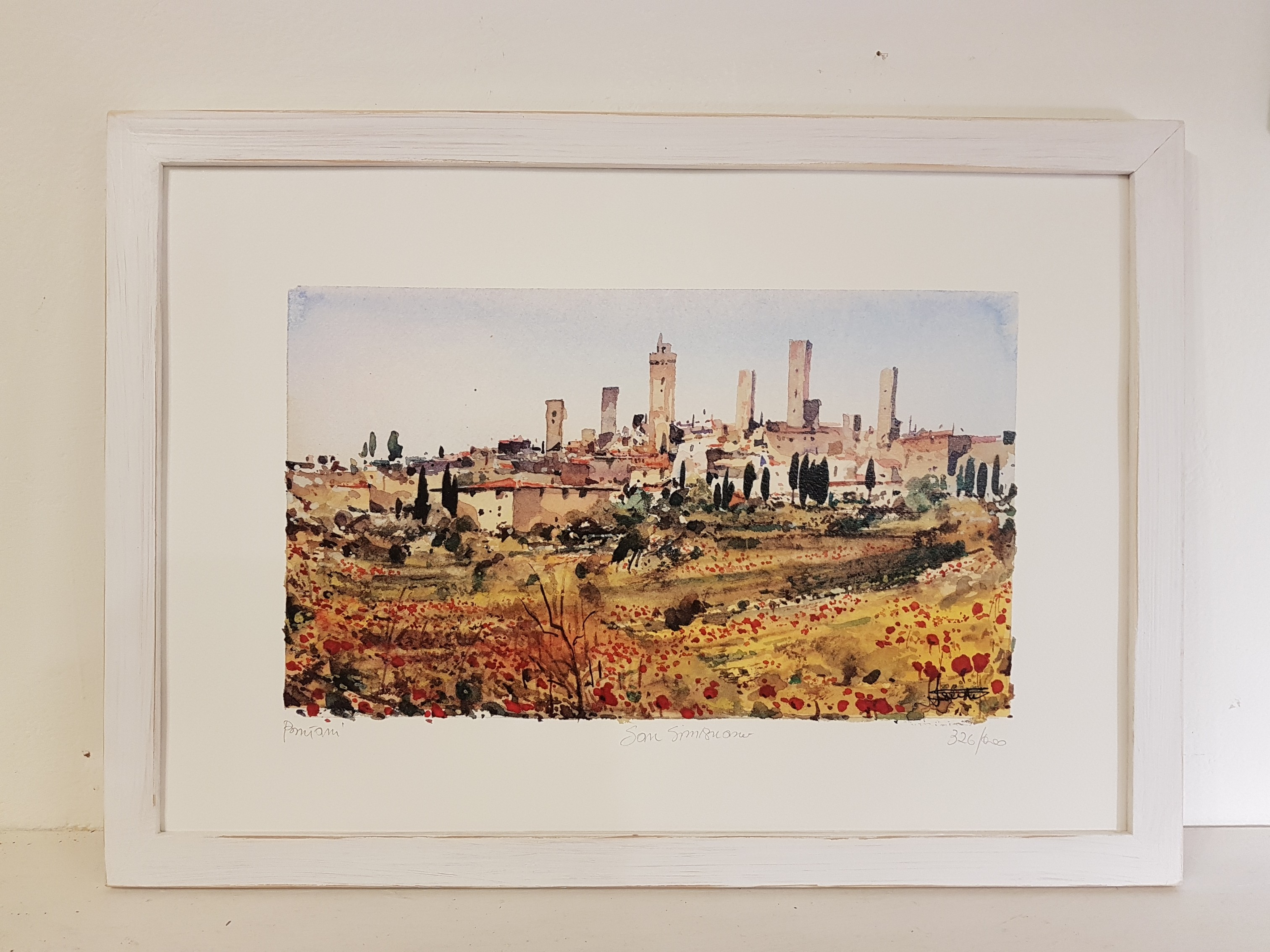 Sangimignano con papaveri con cornice - San Gimignano with poppies with frame
