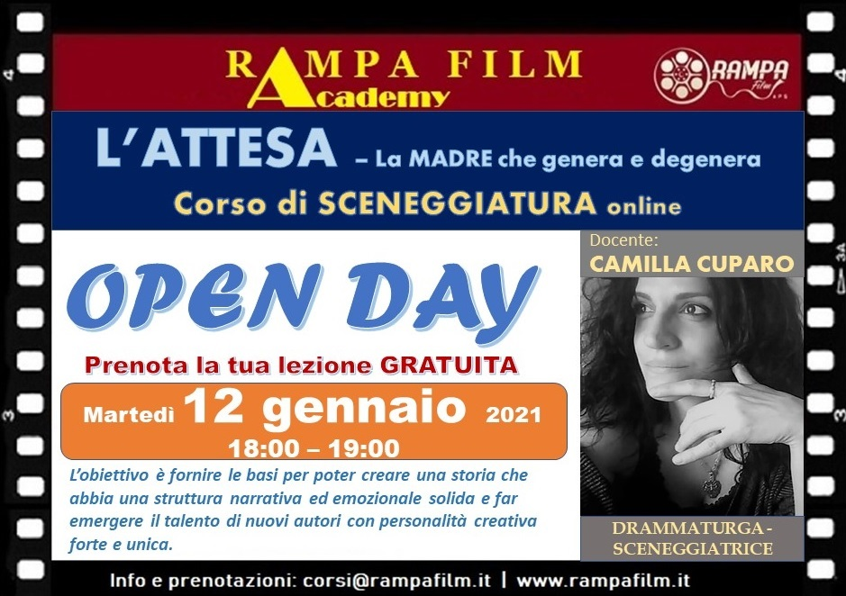 OPEN DAY - LABORATORIO DI SCENEGGIATURA online
