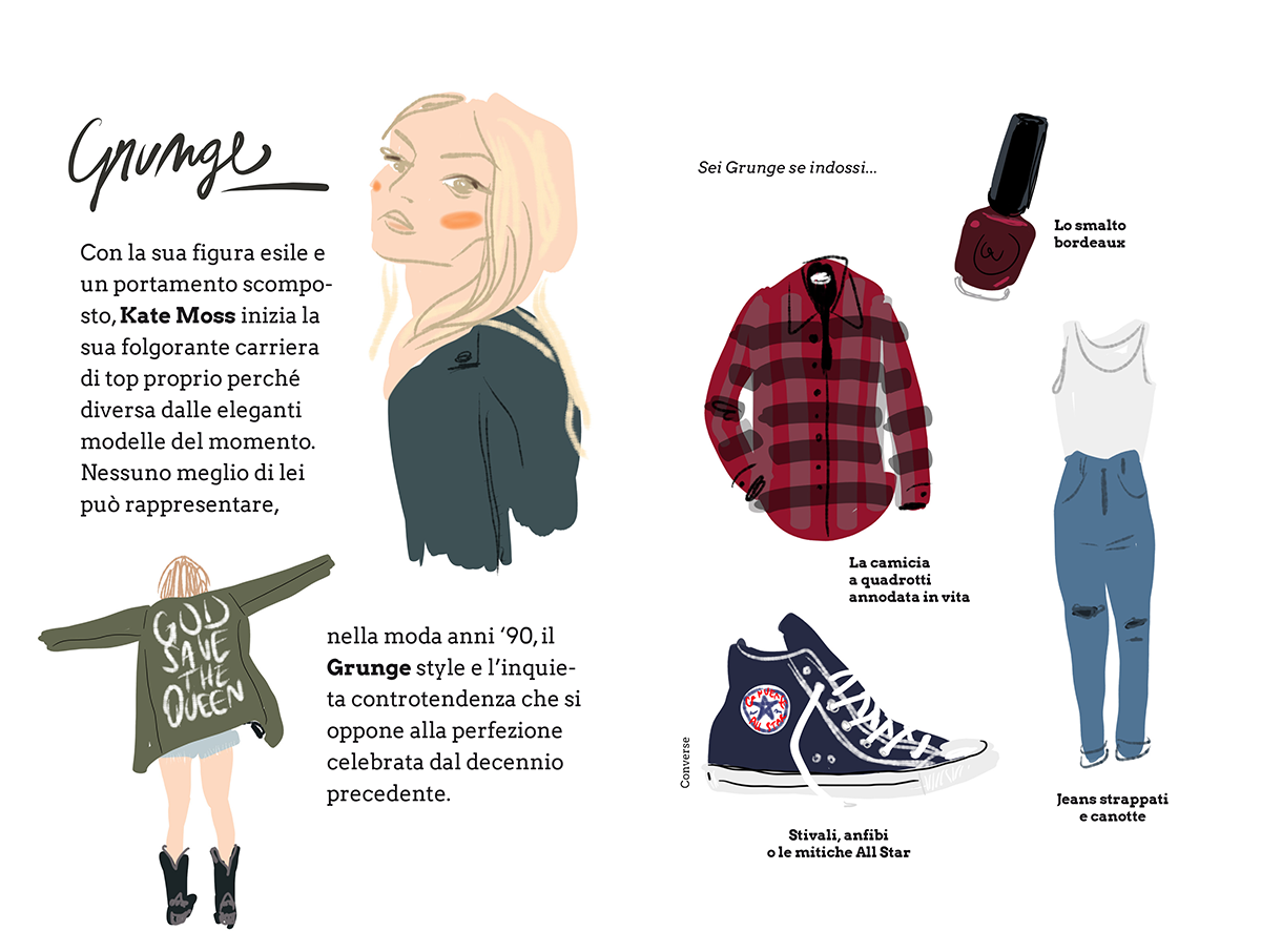 Mode e Muse - Grunge with Kate Moss - by Silvana Mariani