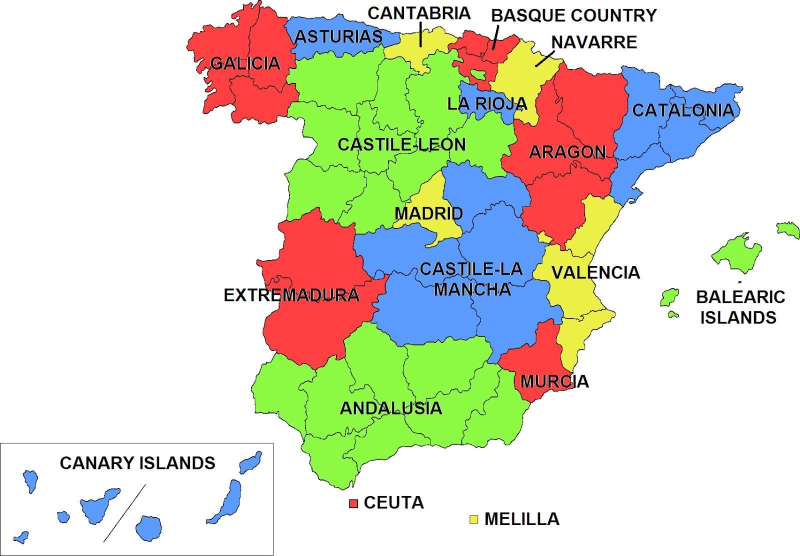 Cartina Spagna Isole Baleari.Spagna E Isole Baleari E Canarie