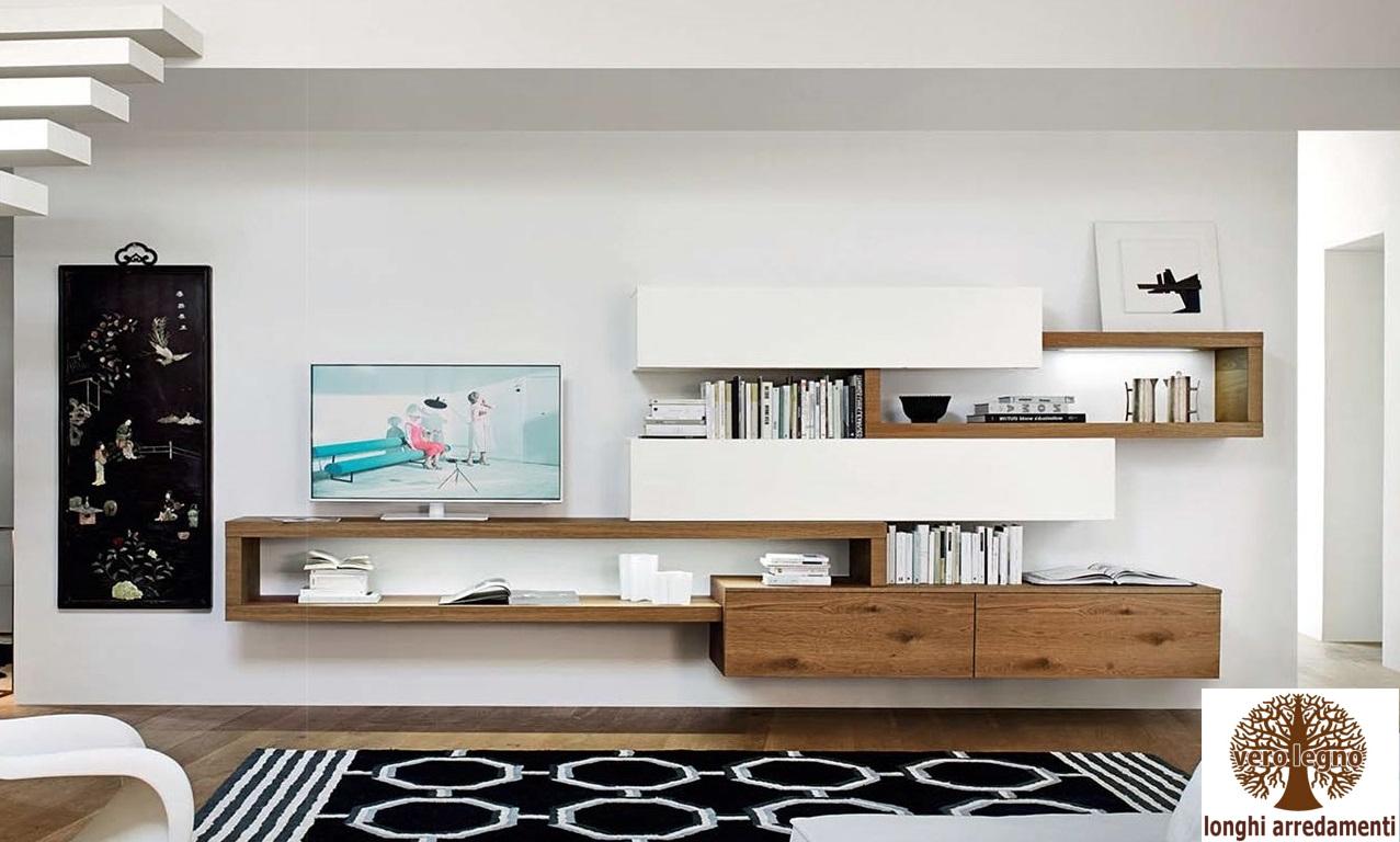 mobili e pareti soggiorno su misura in legno naturale massiccio