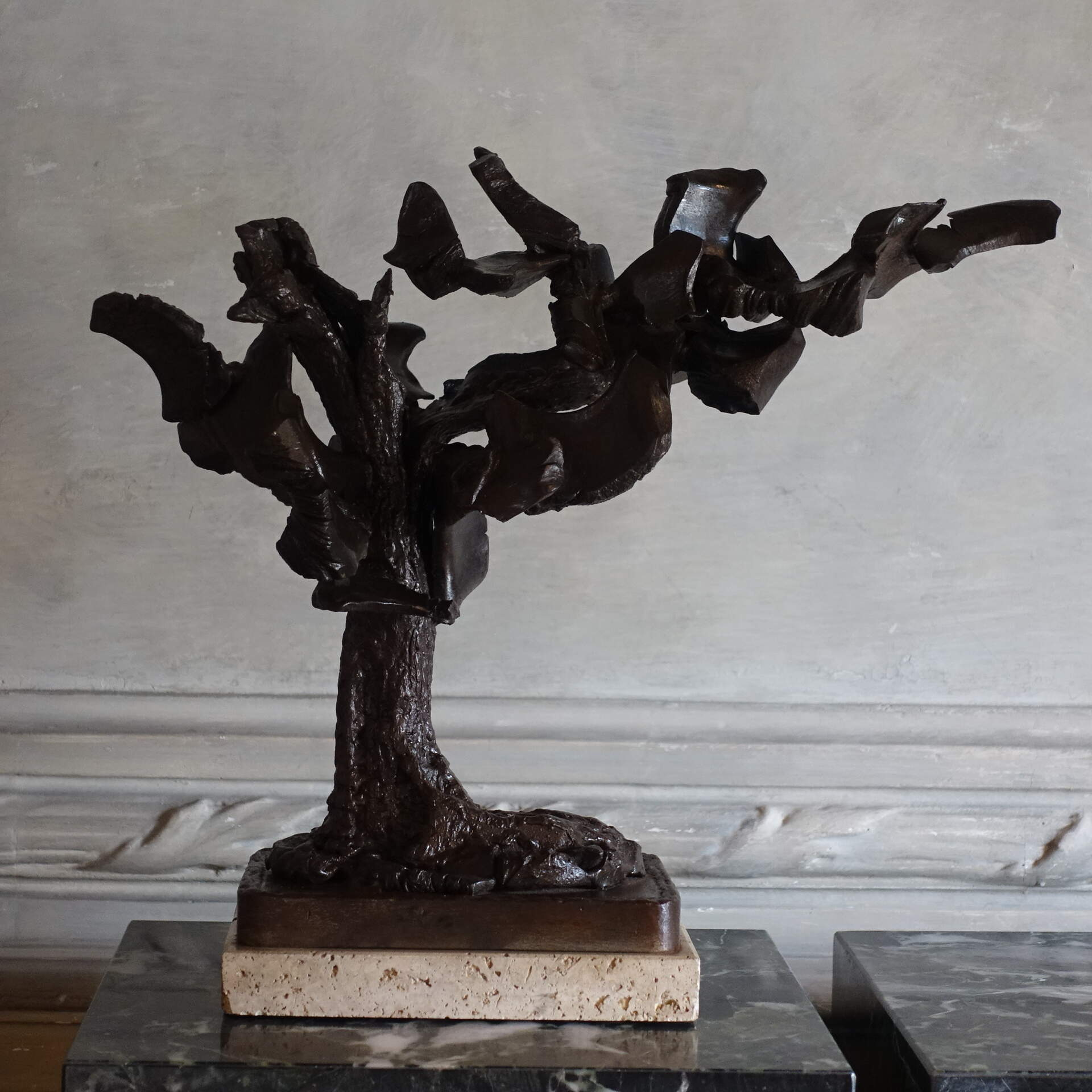 Italian Bronze Sculpture on Travertine Base