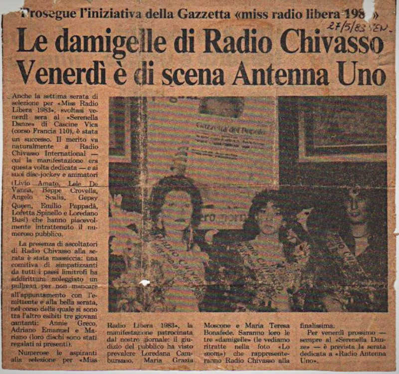 livio amato dj animatore radio chivasso international miss radio libera 1983gazzetta del popolo