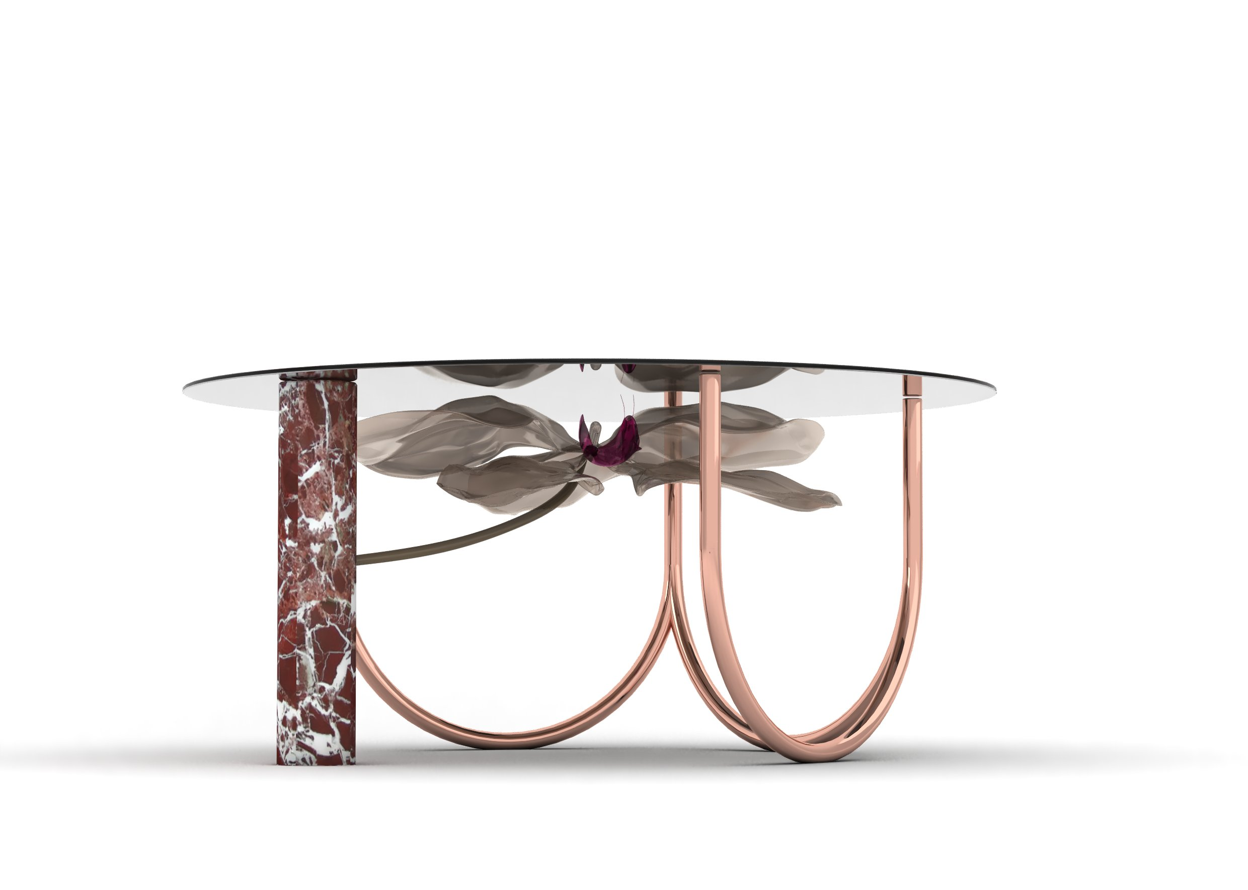 Glass sculpture furniture, art design table, luxury gallery dining table, Italian luxury dining table, luxury bespoke furniture design, luxury marble table lamp italy, luxury marble table italy, orchid furniture, golden contemporary center pieces, luxury pink dining table