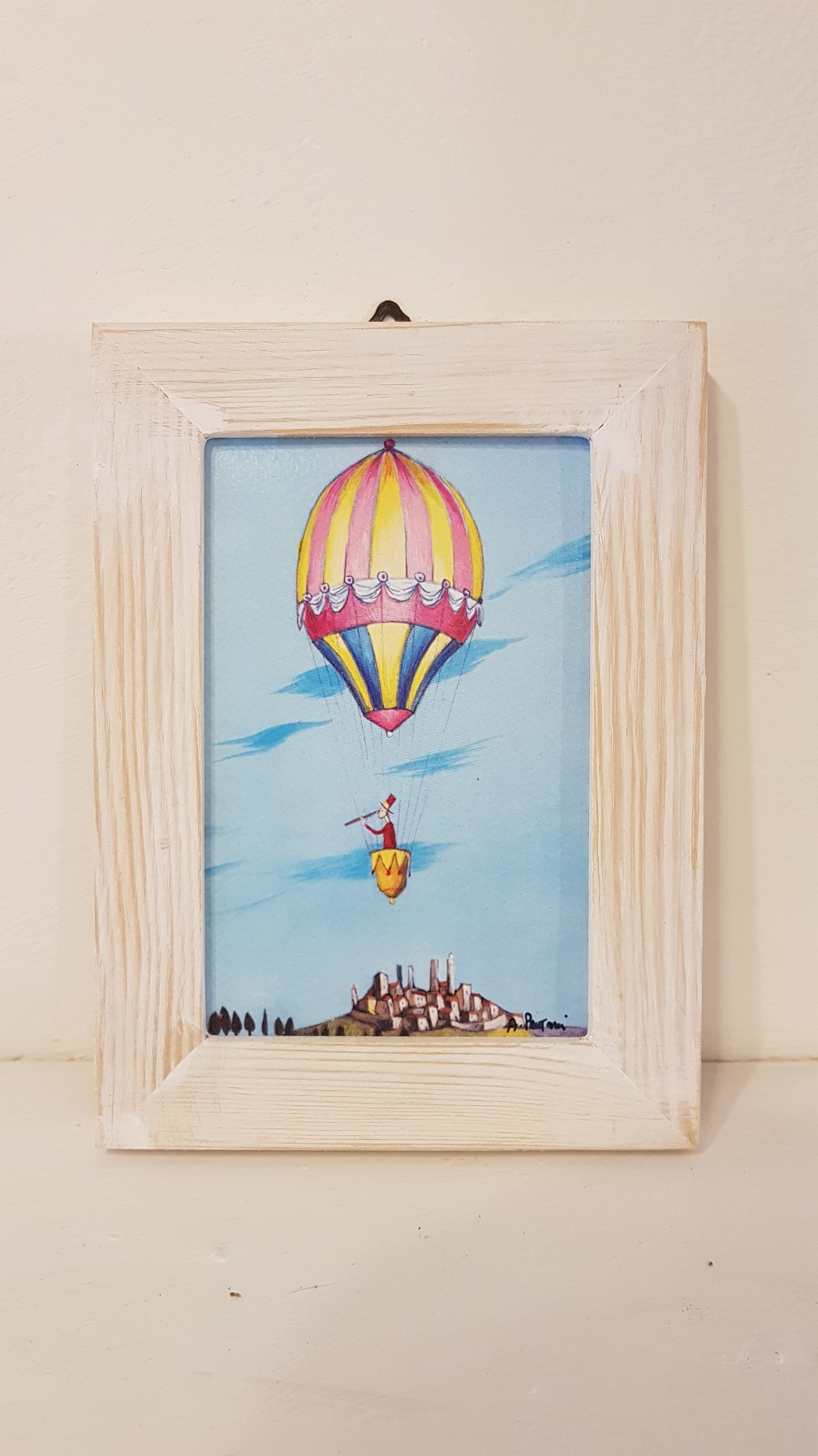 Il viaggio di Igino in mongolfiera con cornice, the journey of Igino in the balloon with frame