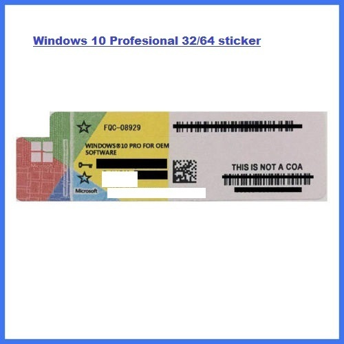 Windows 10 Professional 32/64bit licenza Sticker NO DVD