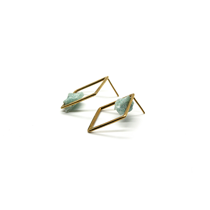REVERSE EARRINGS - ROW AQUAMARINE