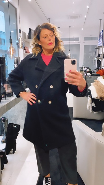 -50% Cappotto nero in lana doppiopetto KING KONG FASHION