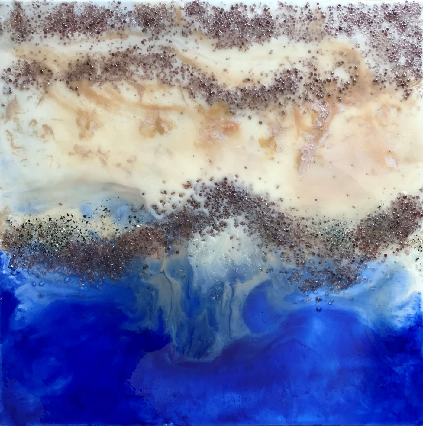 """Battigia"" - cm 70x70x3,8 - resin fluid painting - Quotazione € 850,00"