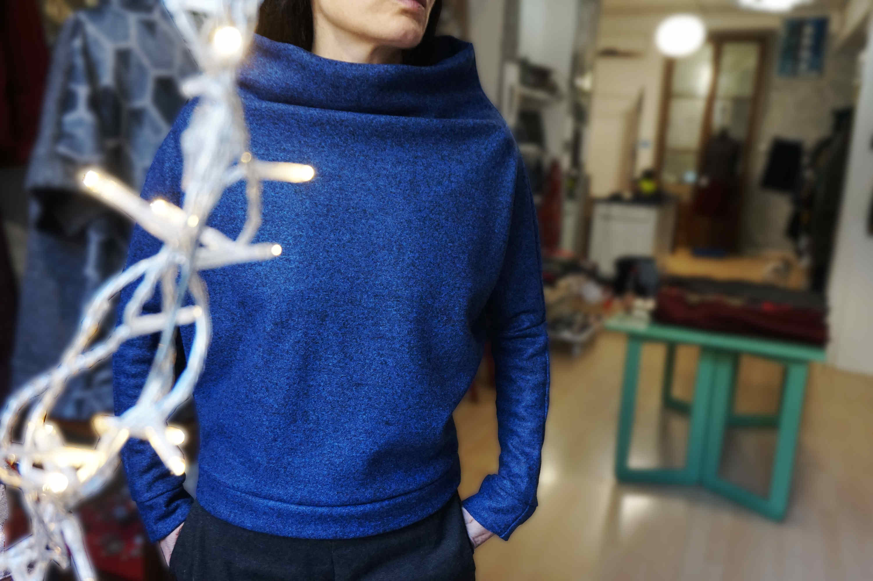 boiled wool sweater with bat wing sleeves