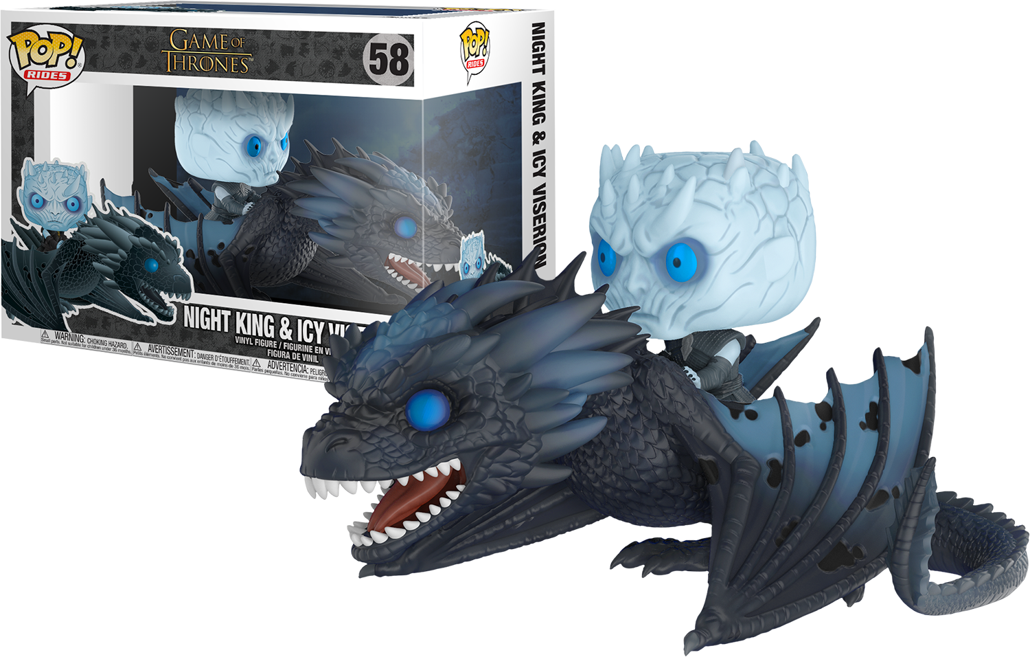 FUNKO POP NIGHT KING & ICY VISERION #58 GAME OF THRONES GLOW IN THE DARK