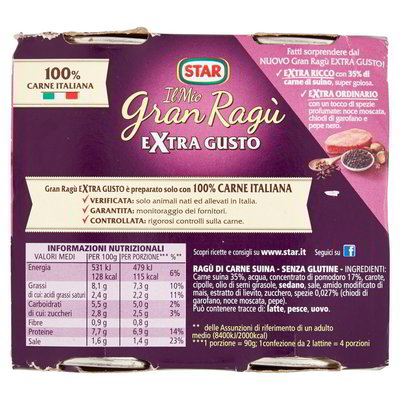 "Star Ragu`extragusto 2x180gr (12.69oz) ""Imported from Italy"""