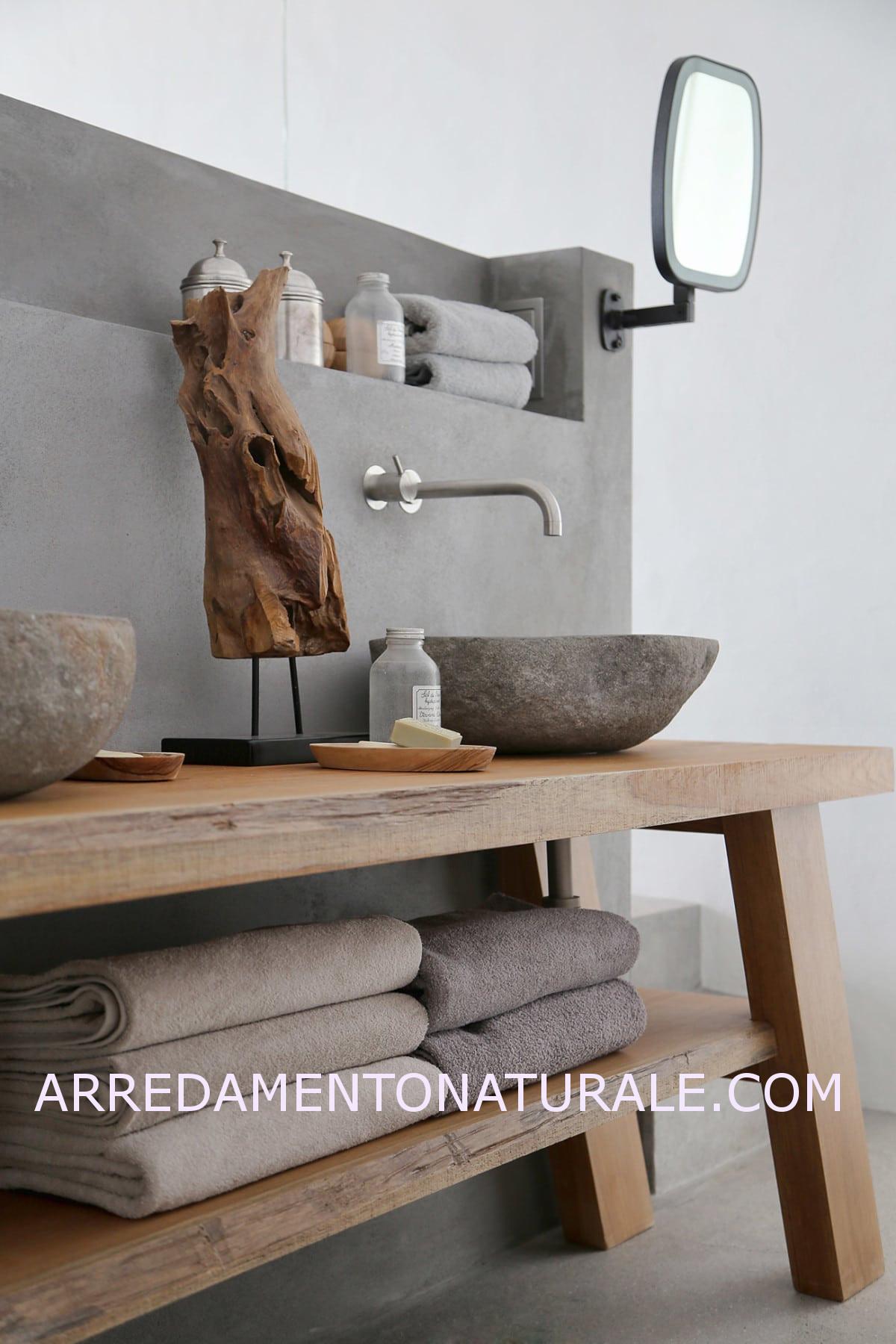Mobili da bagno in legno massello su misura con essenze - Mobili bagno legno massiccio ...