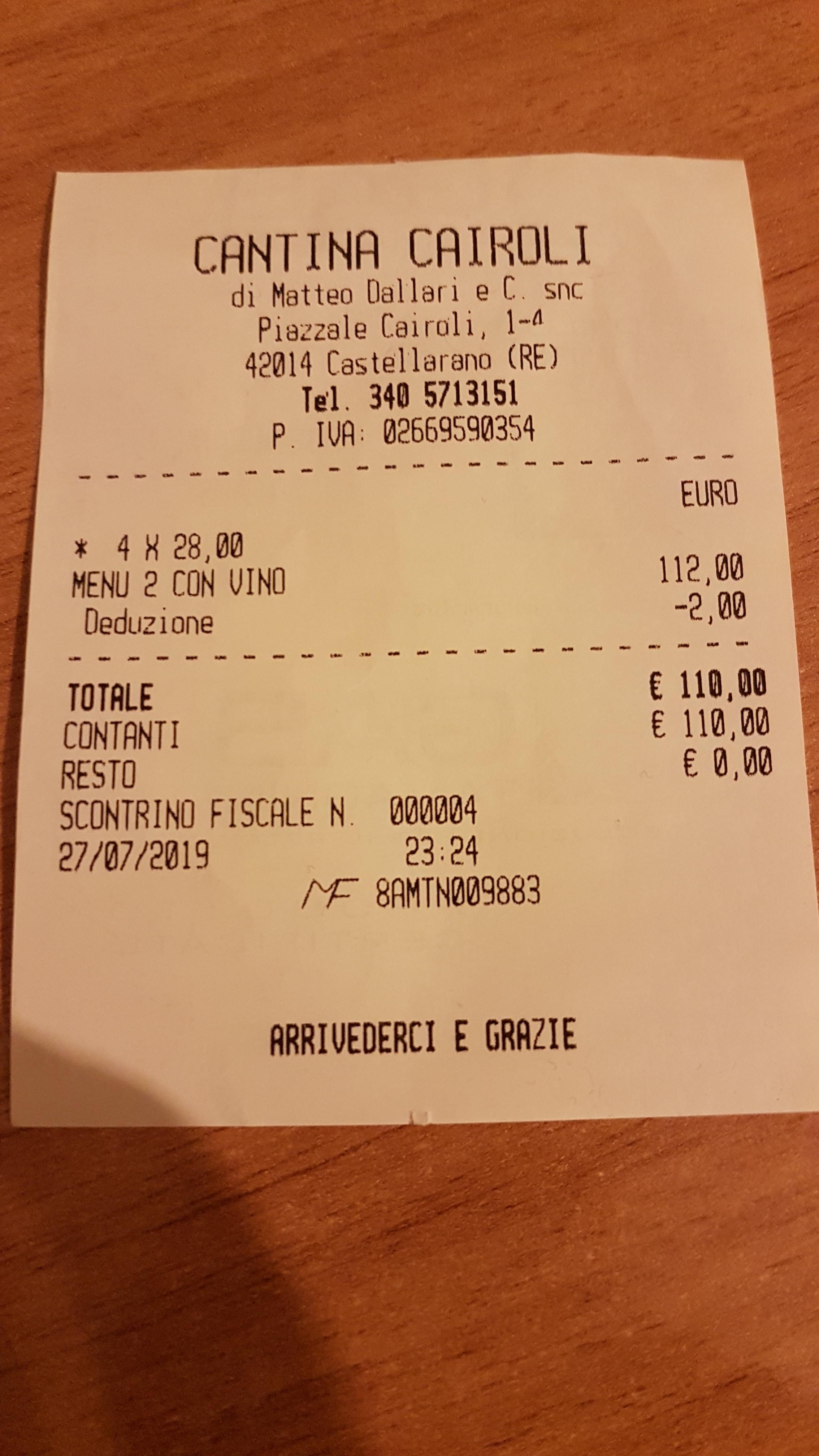 SCONTRINO CANTINA CAIROLI - CASTELLARANO REjpg