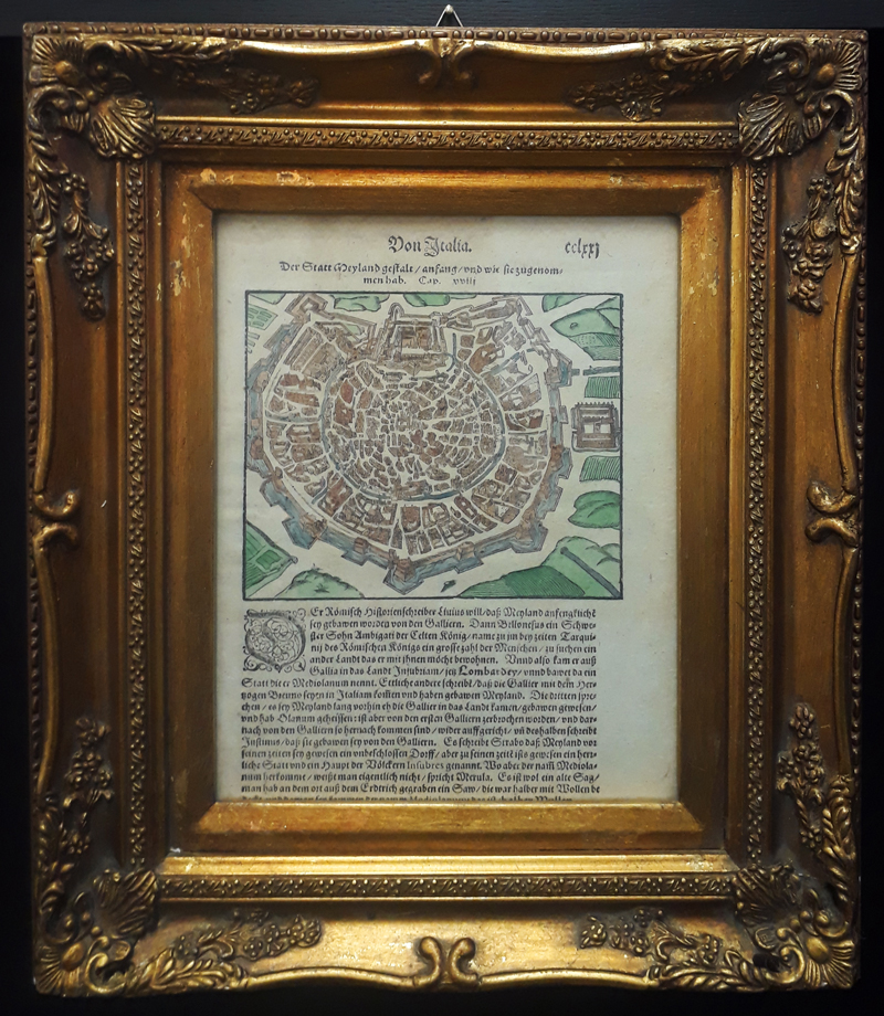 Original 1598 Milan Italy Map from Cosmographia Sebastian Munster