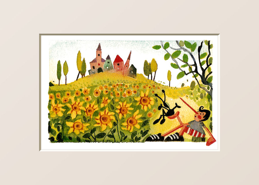 Pinocchio con i girasoli   - Pinocchio with sunflowers
