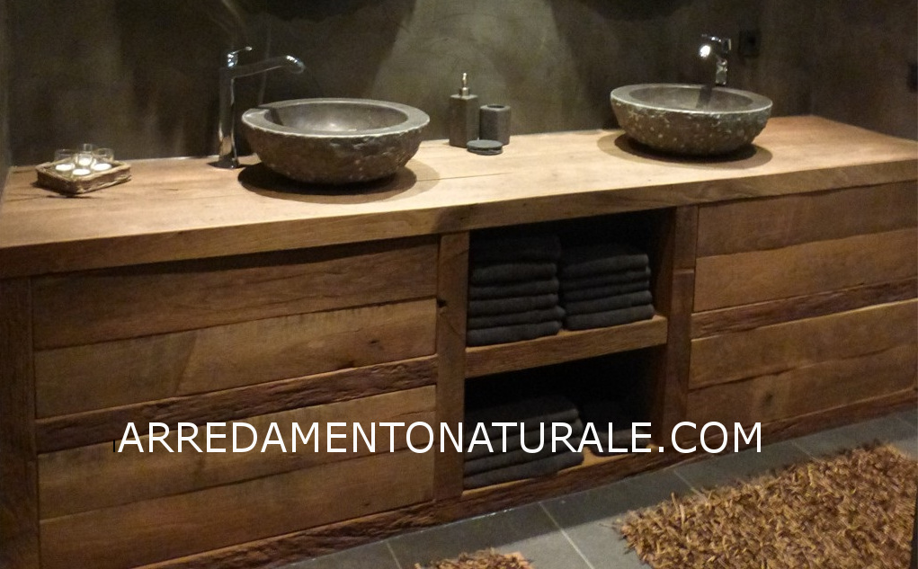 Bagno Stile Naturale : Mobili da bagno in legno massello su misura con essenze pregiate