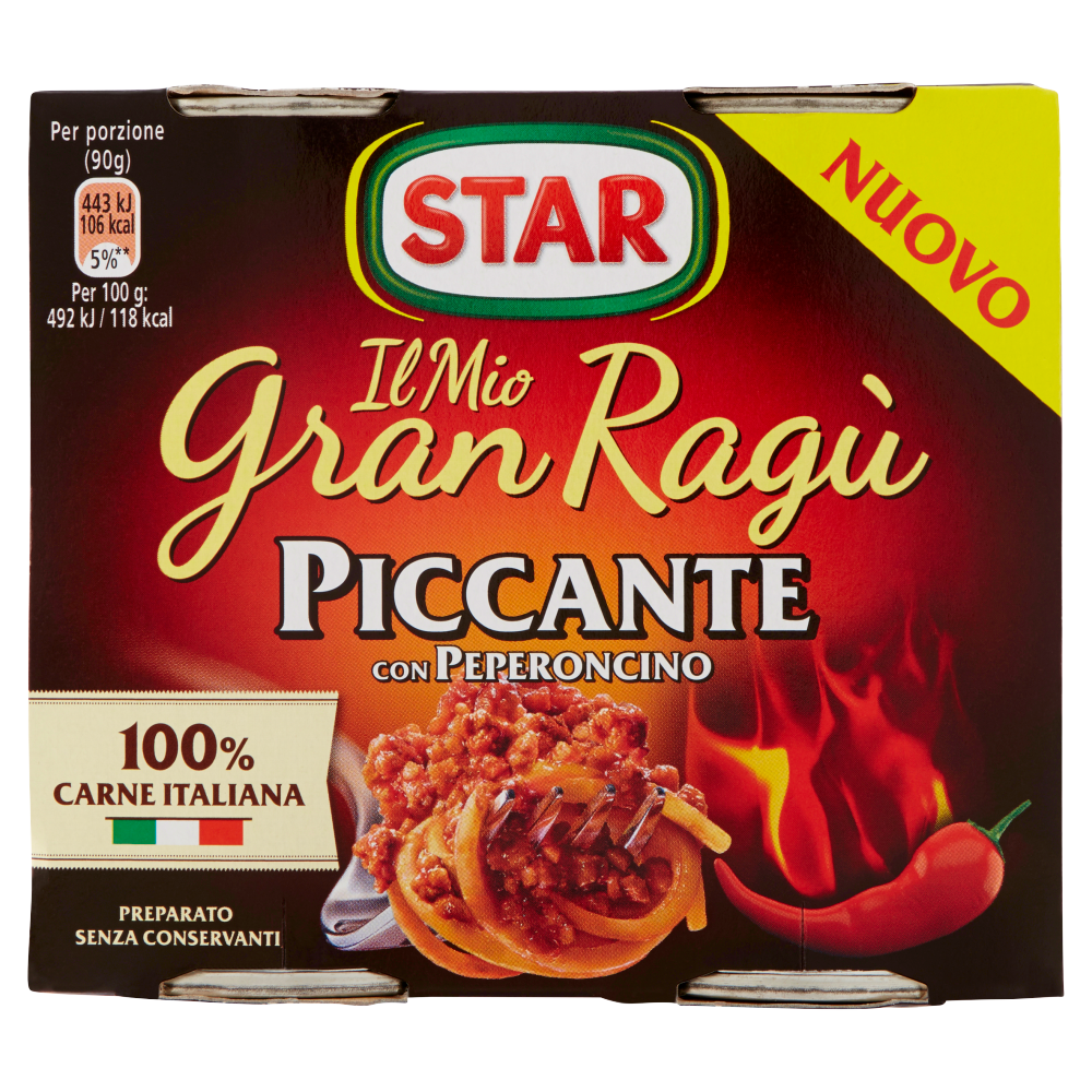 "Star Ragu`Piccante with Italian meat 2x180gr (12.69oz) ""Imported from Italy"""