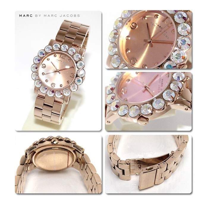Amy Scallop Rose Tone Glitz Holographic Watch MBM3223
