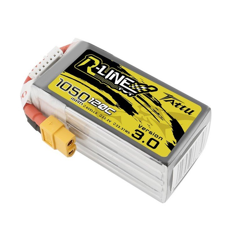 Tattu R-Line 1050mAh 120C 22.2V 6S1P Lipo Battery Pack with XT60 Plug
