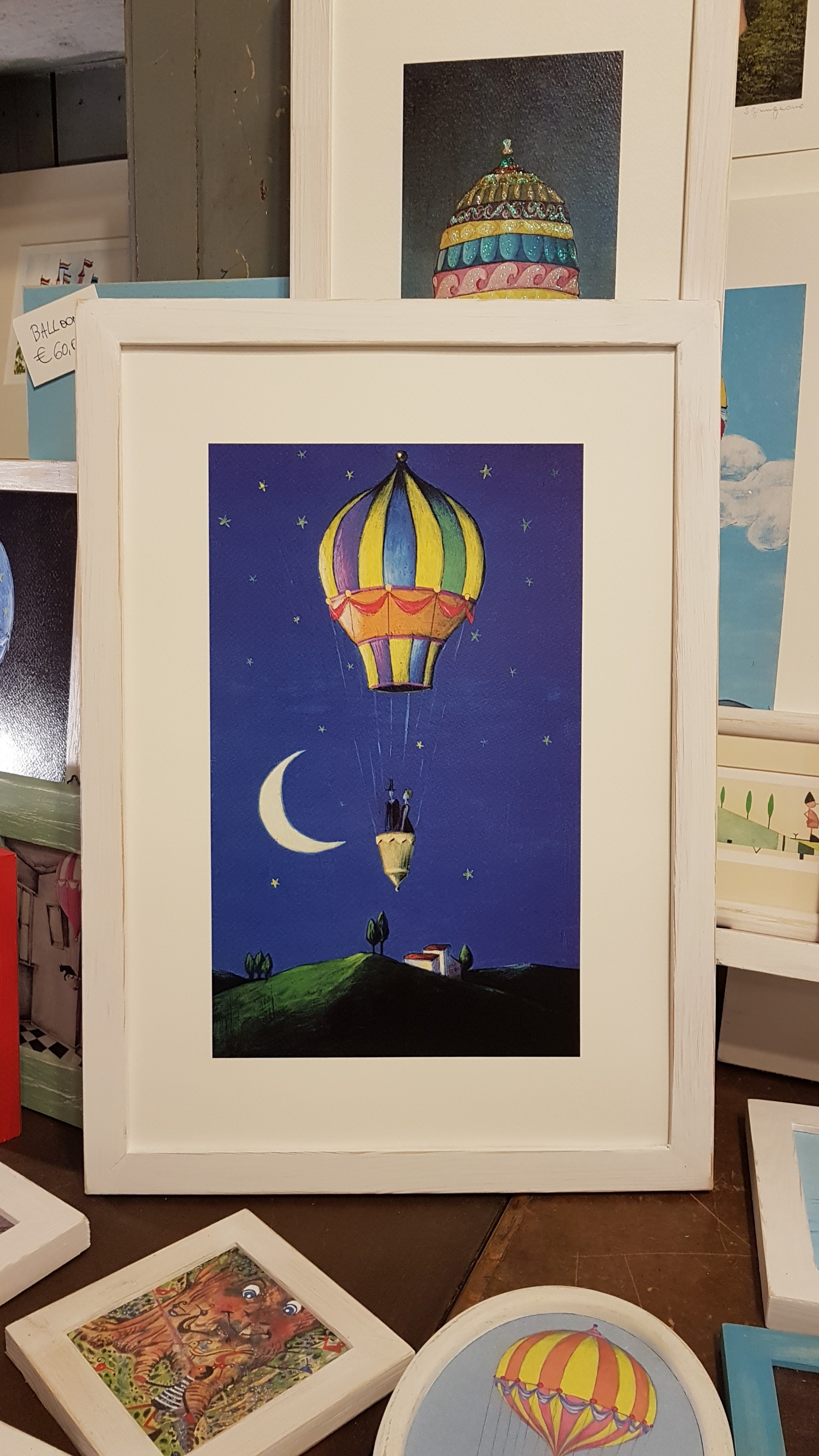 Mongolfiera nella notte  con cornice, Hot air balloon in the night with frame