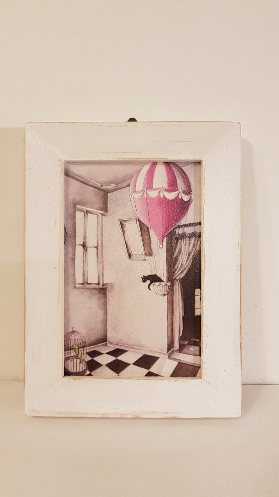 L'incantesimo della mongolfiera con cornice, the enchantment of the balloon with frame