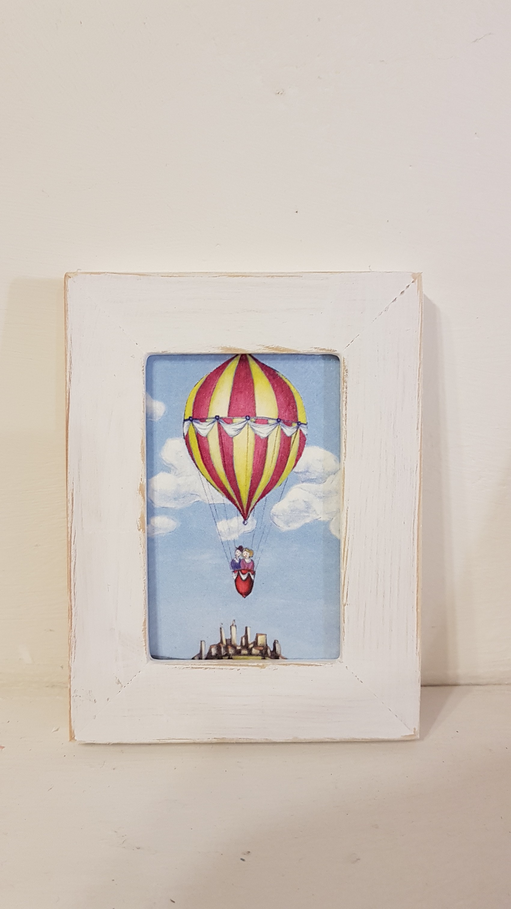 Mongolfiera di Teodolindo con cornice, hot air balloon with frame