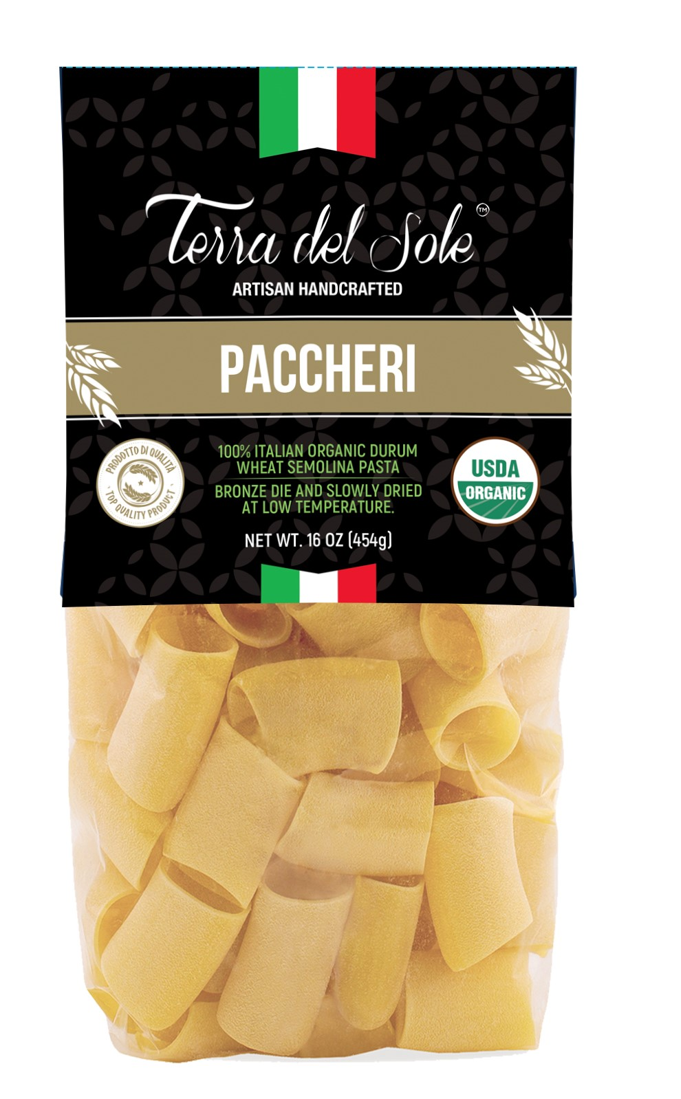 "Pasta Terra del Sole""PACCHERI"" 16oz, bronze die - ORGANIC, Imported from Italy"