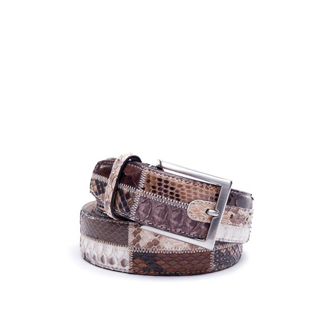 DARK RECTANGLES PATCHWORK PYTHON BELT